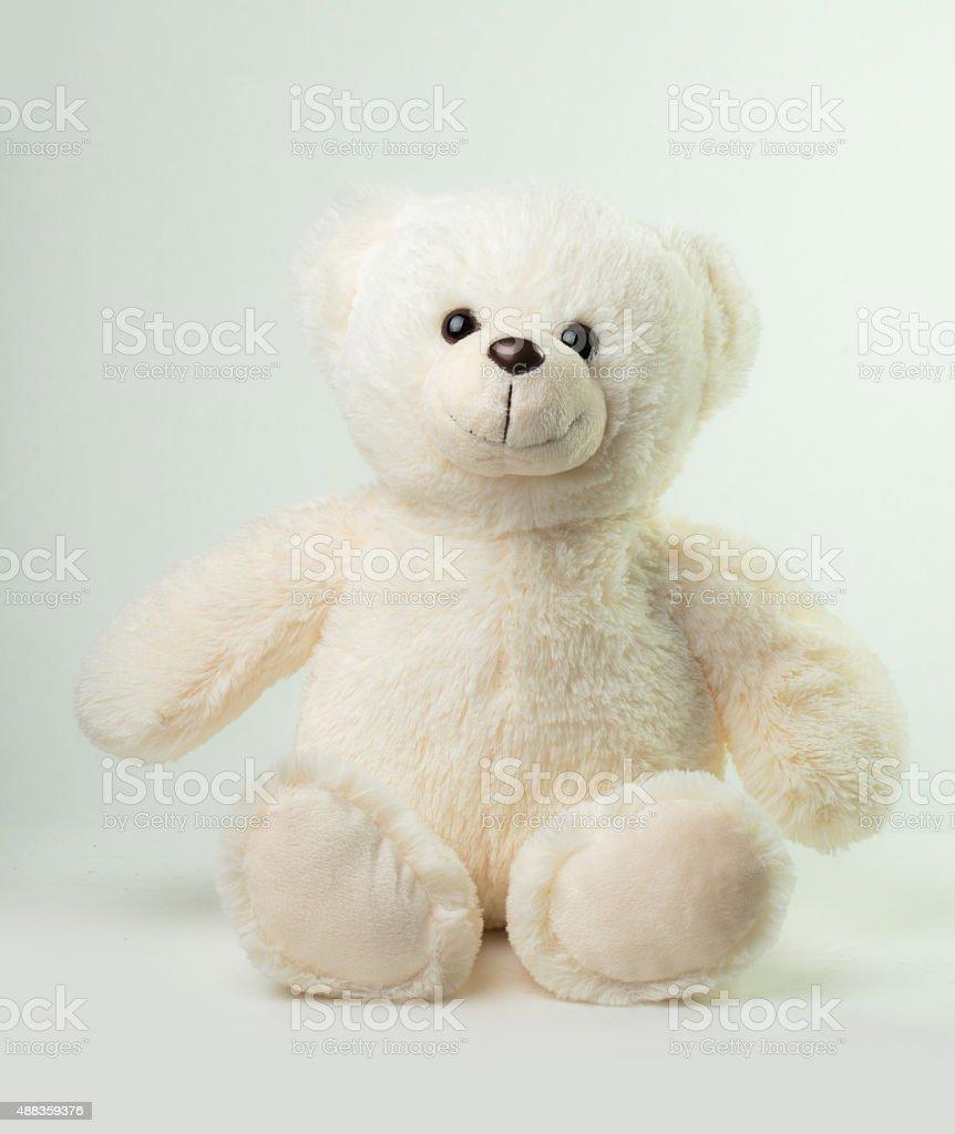 Sitting White Teddy Bear stock photo