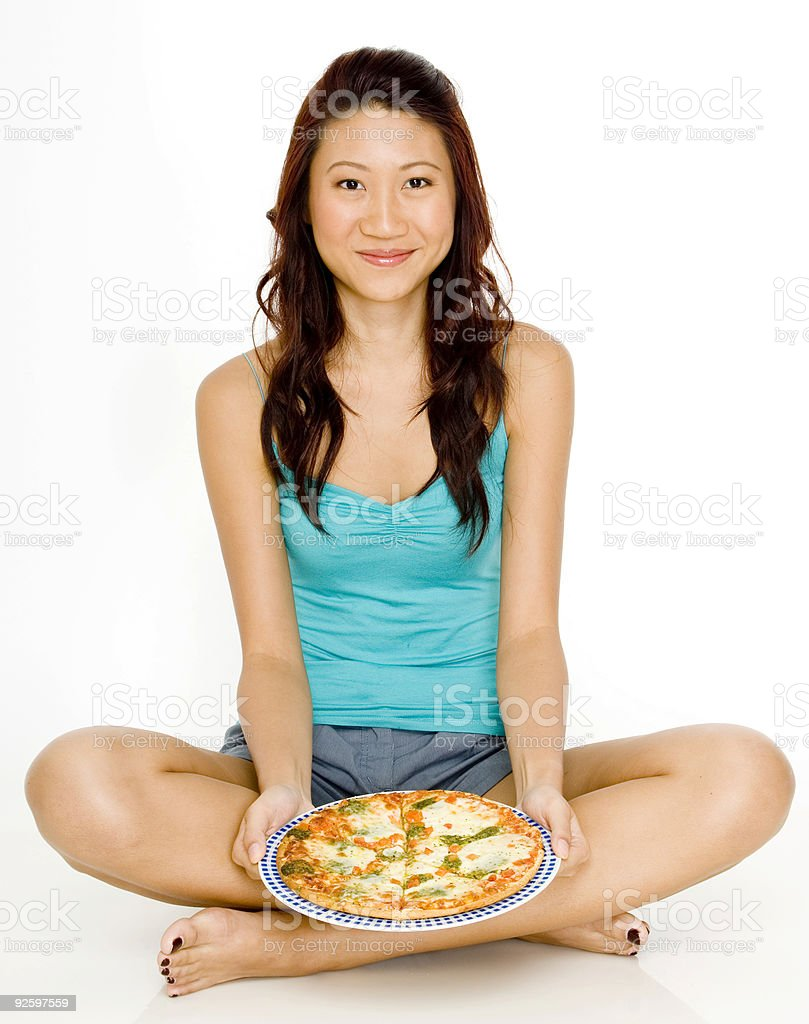 Sitting With Pizza royalty-free stock photo