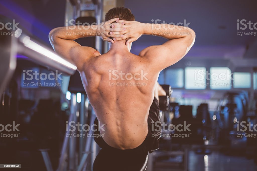 Sit-up bench workout stock photo