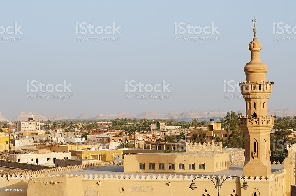 Siwa Oasis mosque and town stock photo