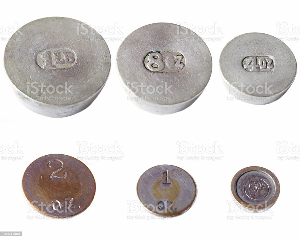 Six Antique Weights stock photo