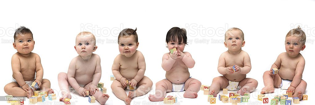 Six babies sitting in a row stock photo