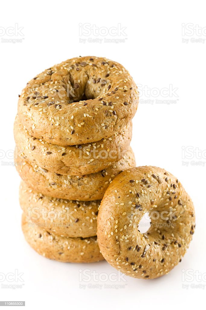 Six Bagels royalty-free stock photo