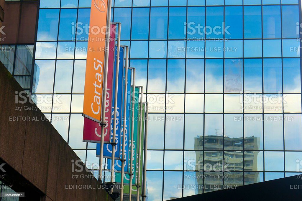 Six banners of CartaSi against a modern building royalty-free stock photo