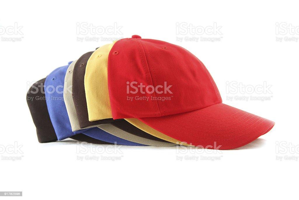 six baseball hats stock photo
