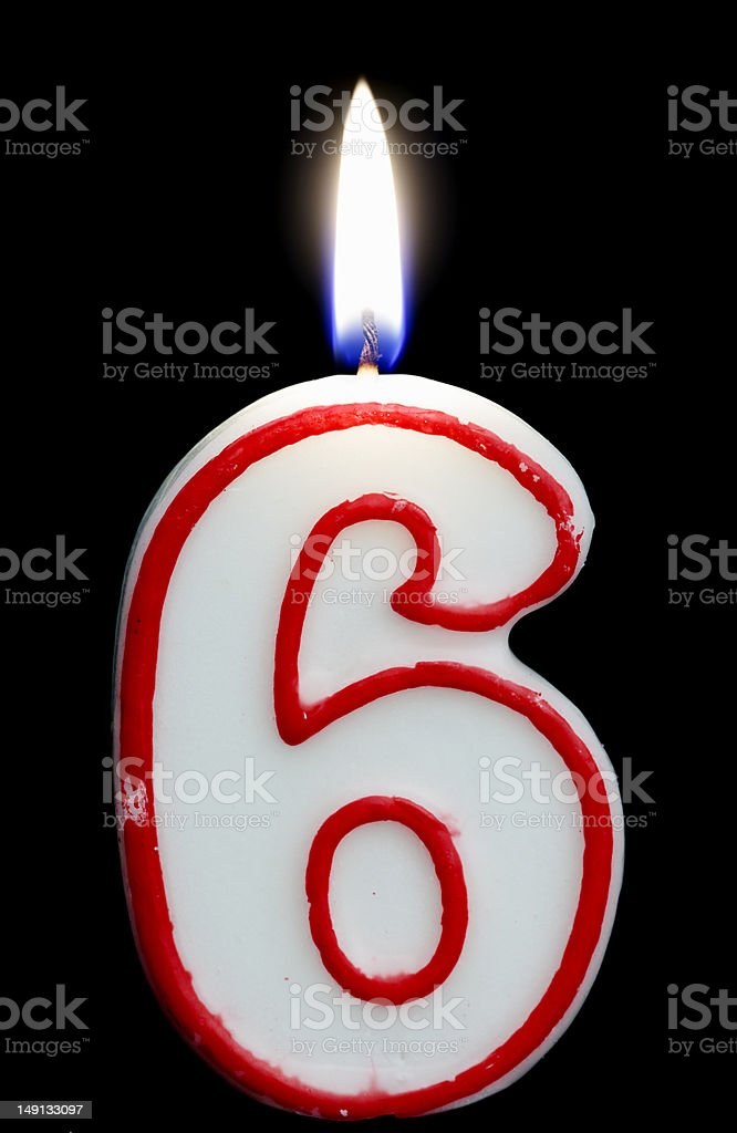 six birthday candle royalty-free stock photo