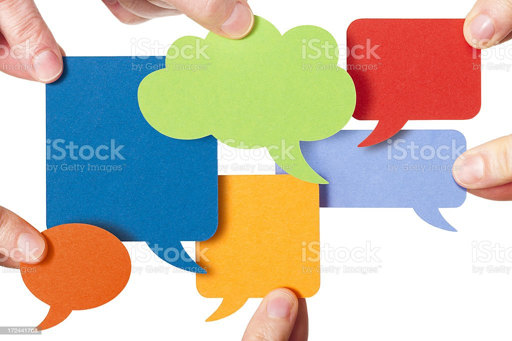 Six blank colourful speech bubbles royalty-free stock photo