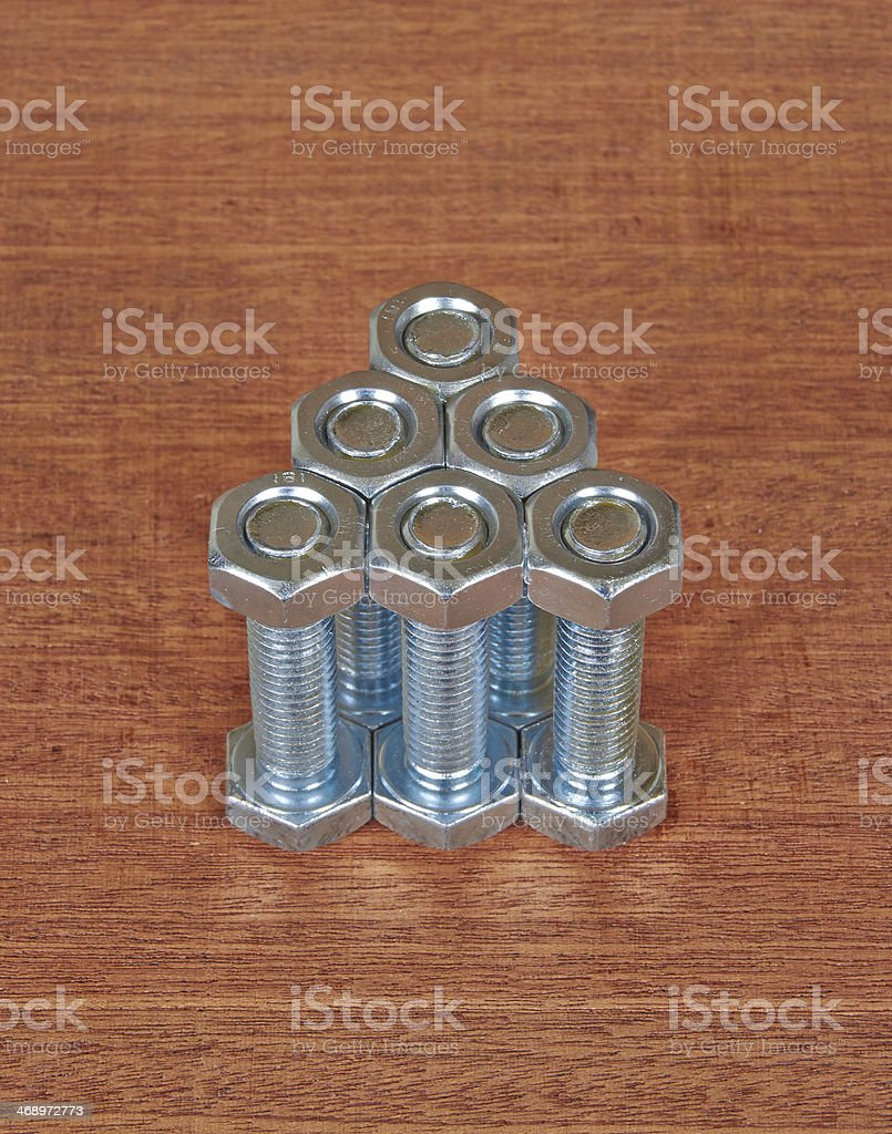 six bolts with nuts royalty-free stock photo