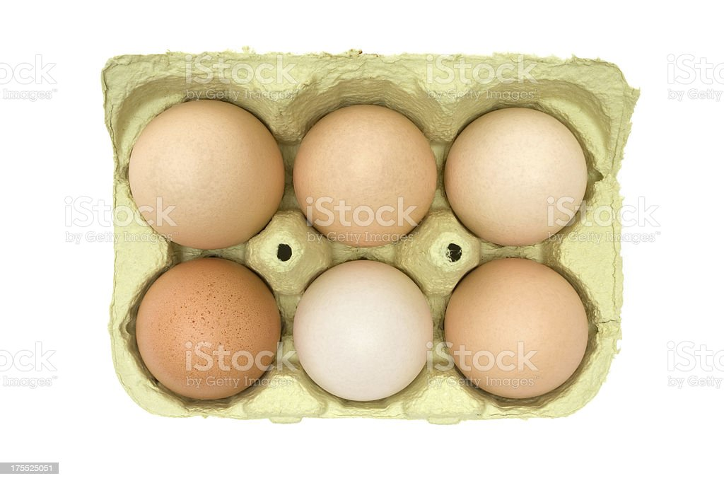 Six Brown Eggs in a Box royalty-free stock photo