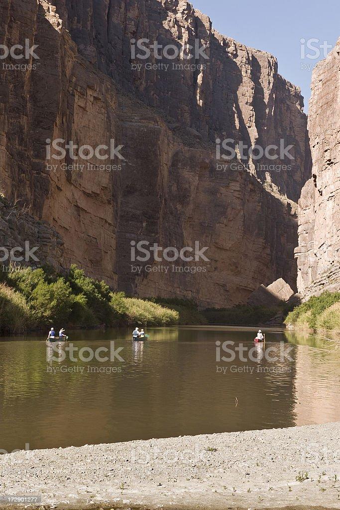 Six Canoers Heading up Santa Elena Canyon at Big Bend royalty-free stock photo