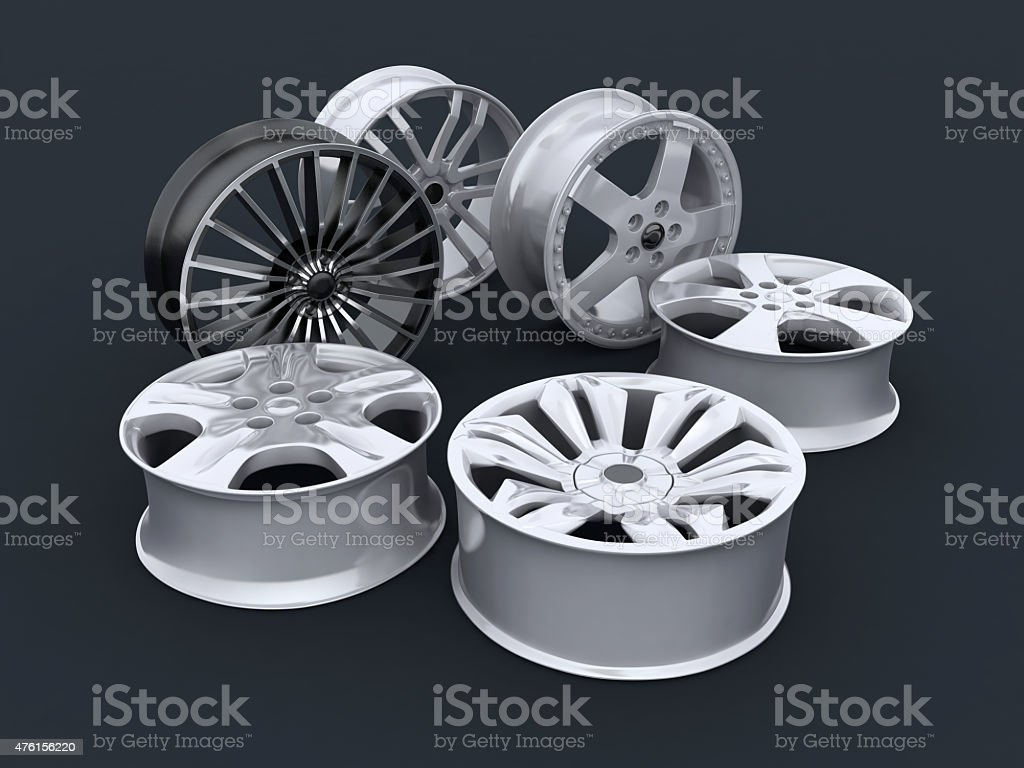 six car rims stock photo