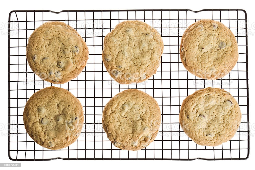 Six Chocolate Chip Cookies On Cooling Rack Isolated stock photo
