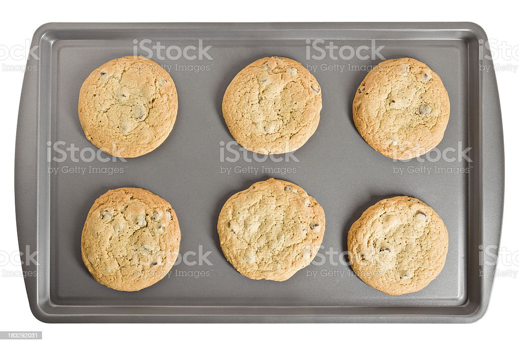 Six Chocolate Chips Cookies On Baking Sheet Isolated stock photo
