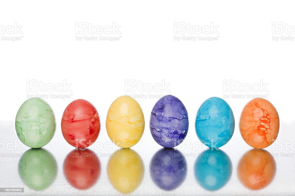 six color easter eggs royalty-free stock photo
