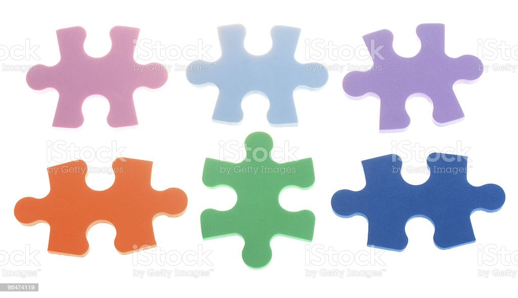 six color puzzle blocks royalty-free stock photo