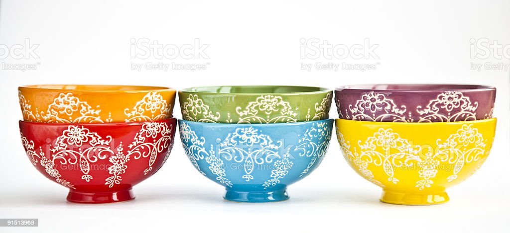 six colored bowls royalty-free stock photo