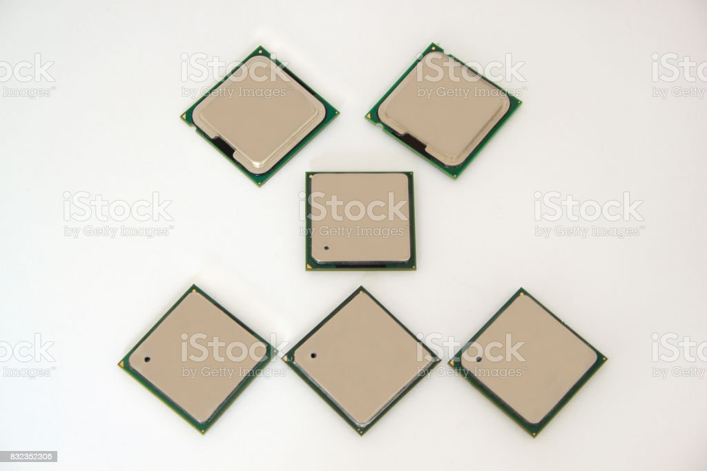 Six computer chip isolated on the white background. stock photo