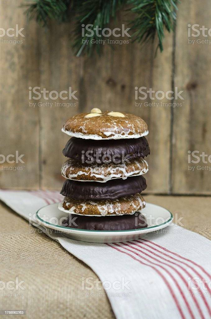 Six cookies on a plate at Christmastime royalty-free stock photo