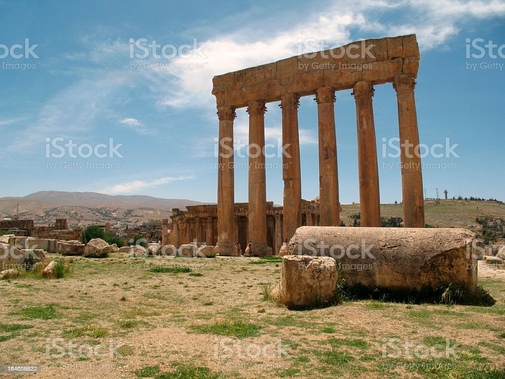 Six Corinthian coulmns - Temple of Jupiter in Baalbek royalty-free stock photo