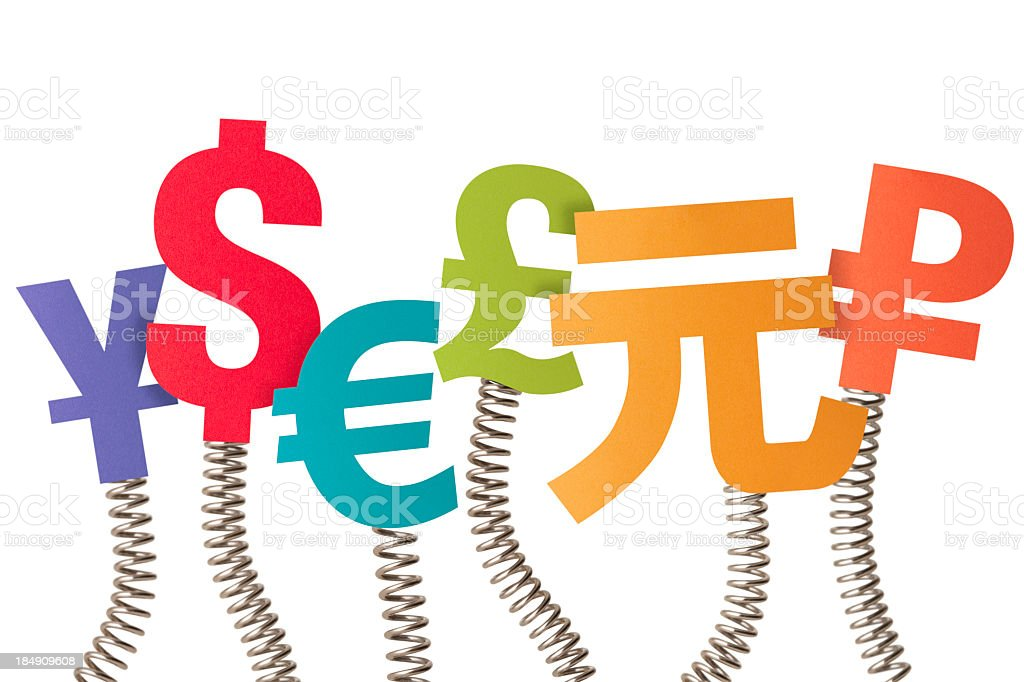 Six currency symbols on bouncing springs royalty-free stock photo