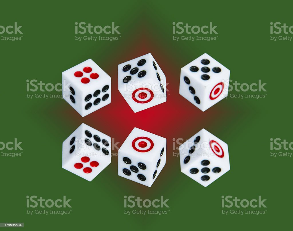 Six dices on red and green  background royalty-free stock photo