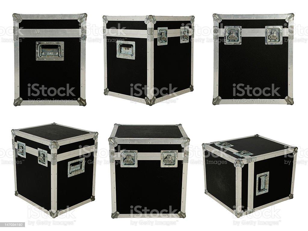 Six different black flight cases stock photo