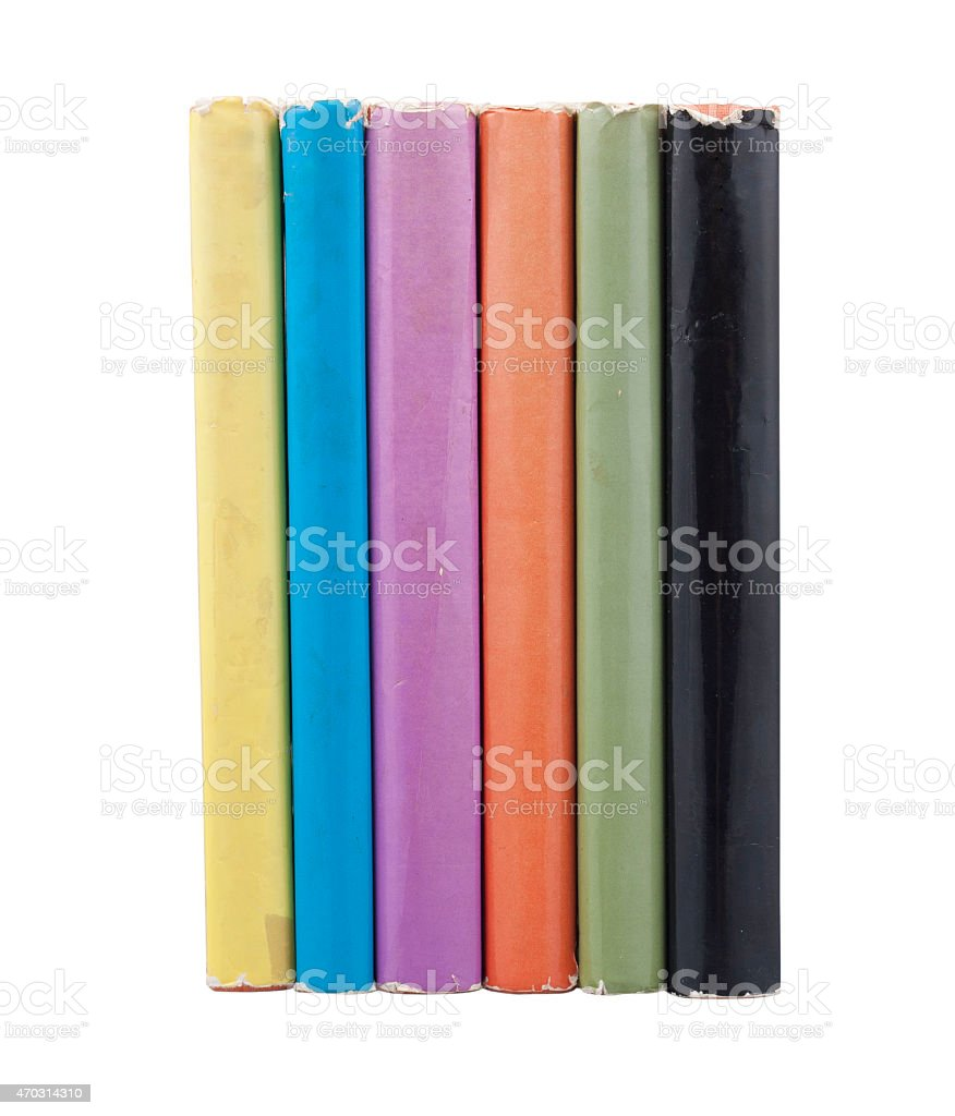 Six different colors books stock photo