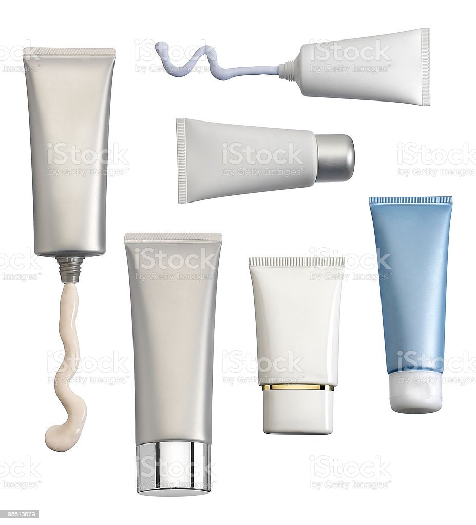 Six different cosmetics creams tubes stock photo