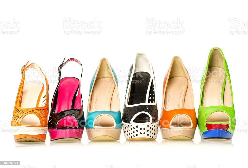 Six different High Heels Shoes for summer with peep toe stock photo