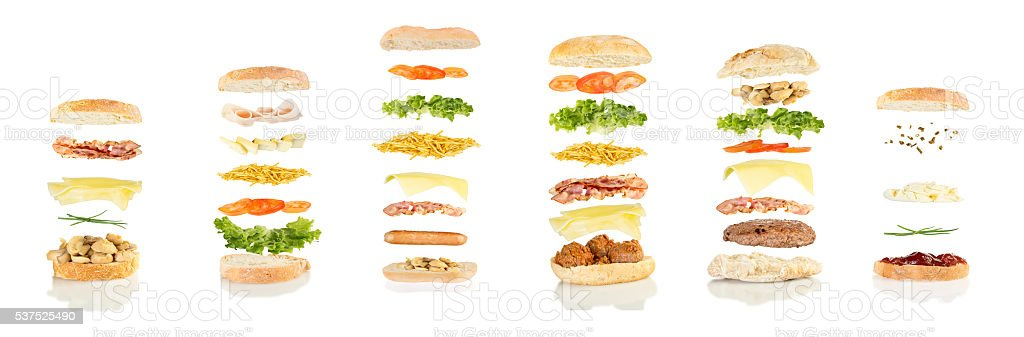 six different sandwiches floating stock photo