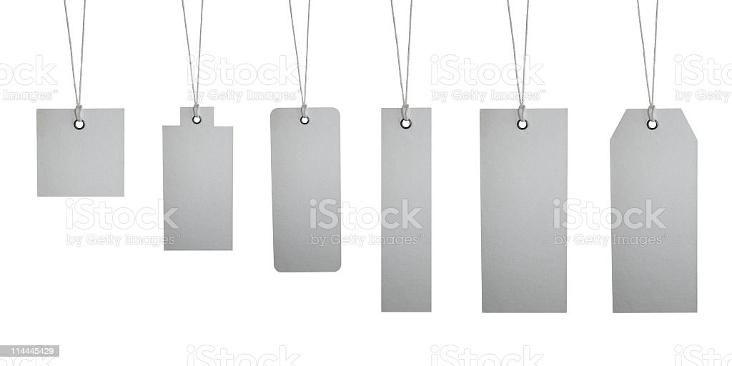 Six different tag labels XXXL+ royalty-free stock photo