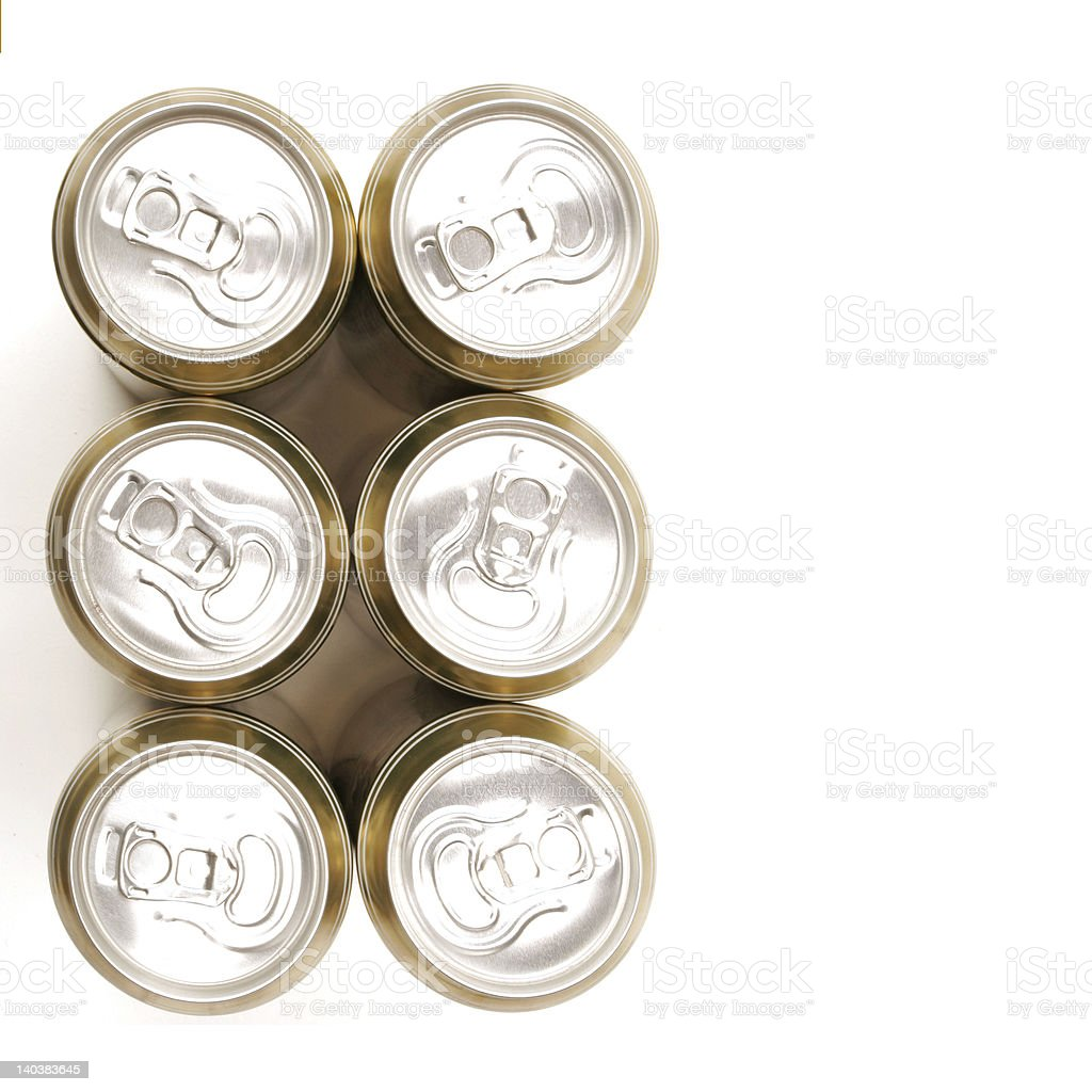 Six drinks cans from above isolated on white royalty-free stock photo