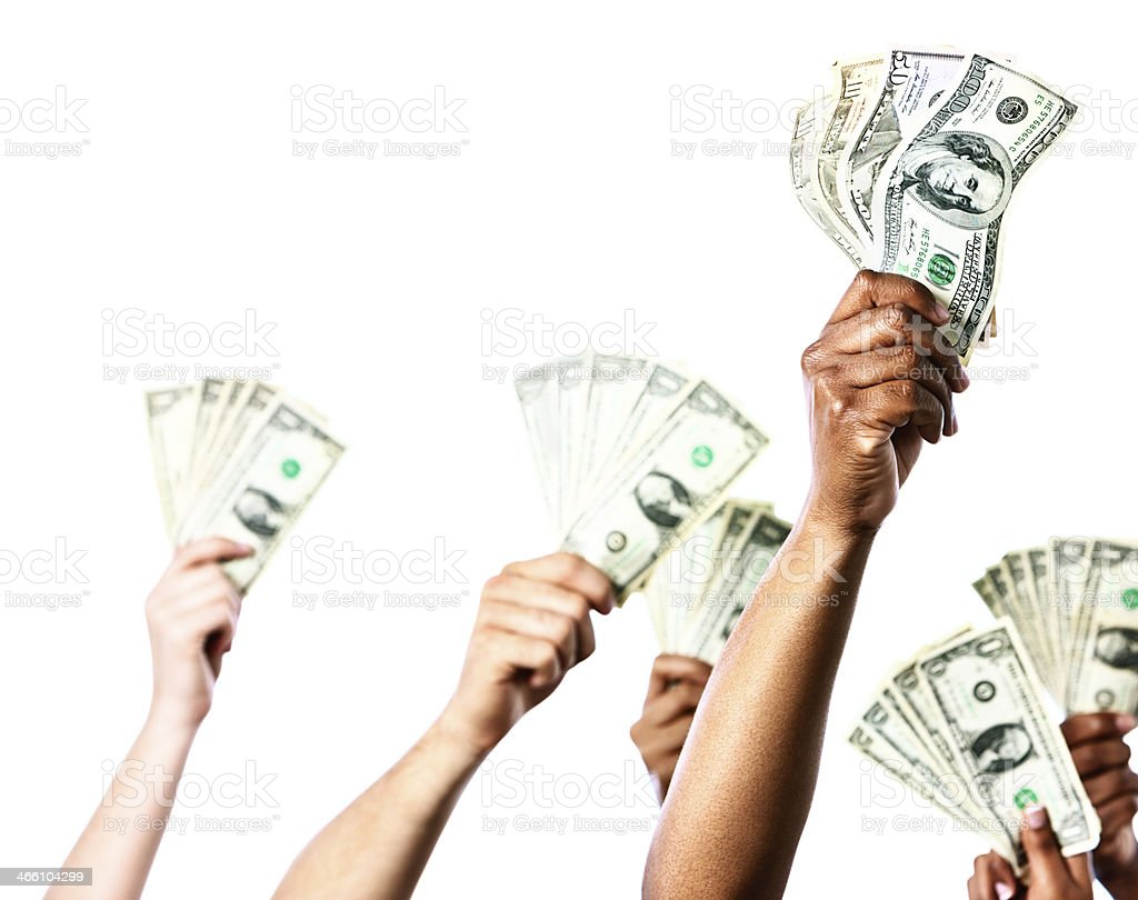 Six eager hands offering bundles of banknotes royalty-free stock photo