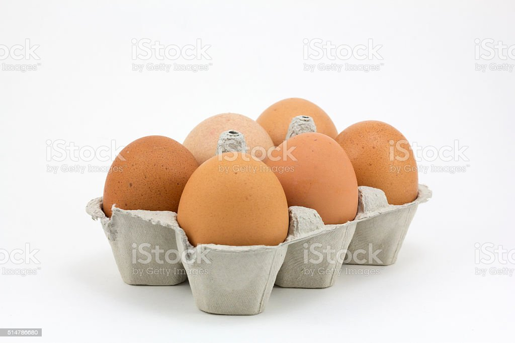 Six eggs stock photo