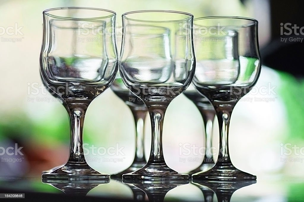 Six empty crystal wine glasses royalty-free stock photo