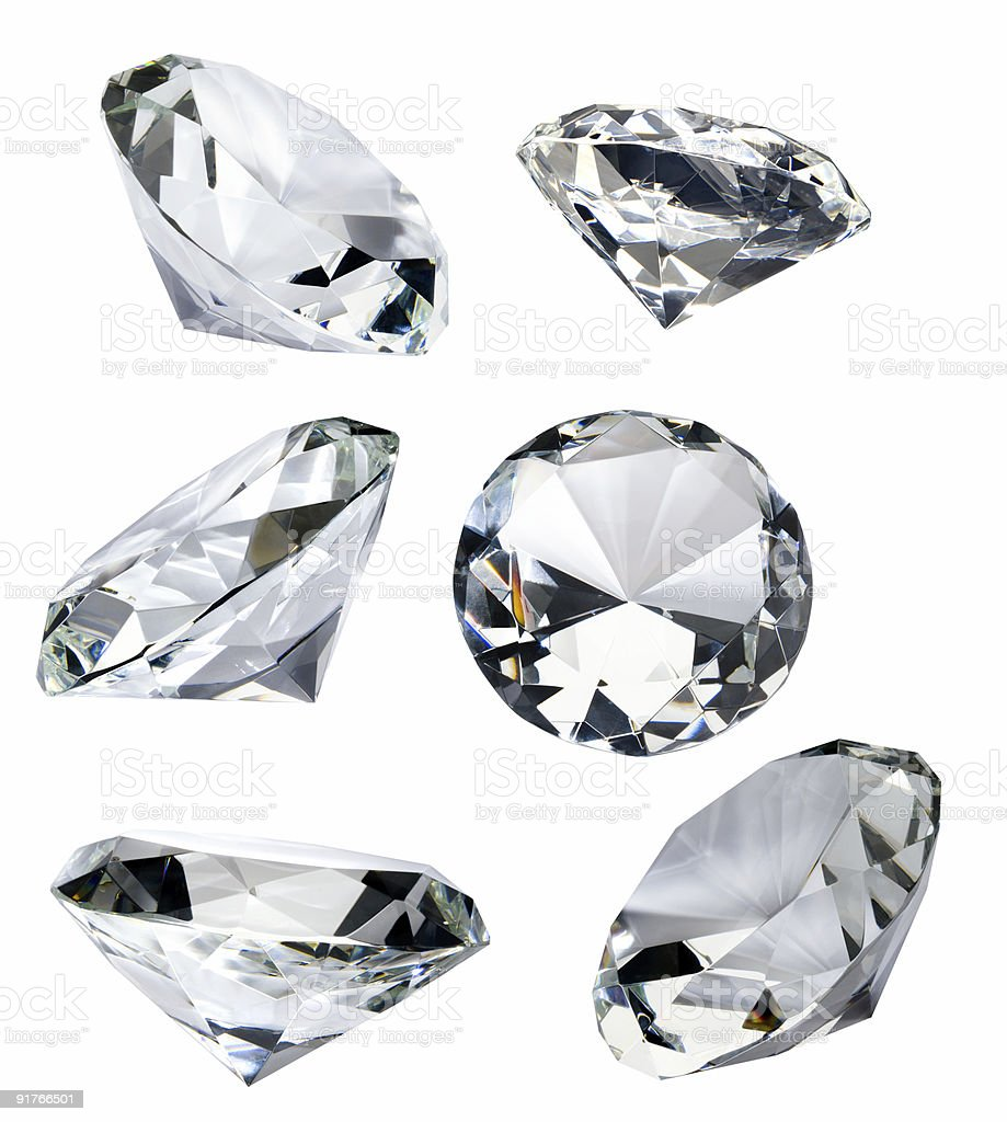Six Faceted Diamonds Isolated on White with Clipping Path stock photo