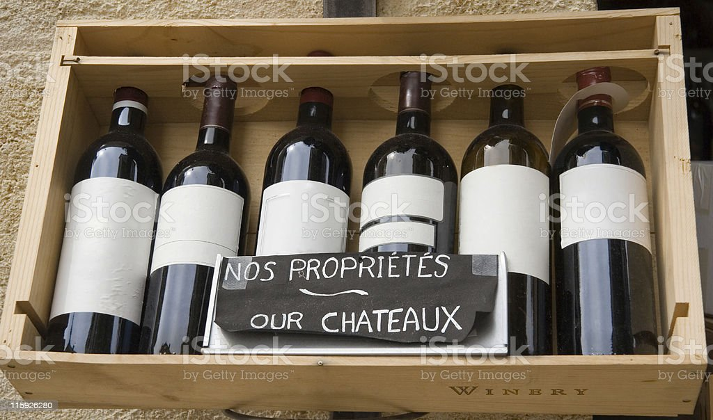 six famous wines in a row royalty-free stock photo