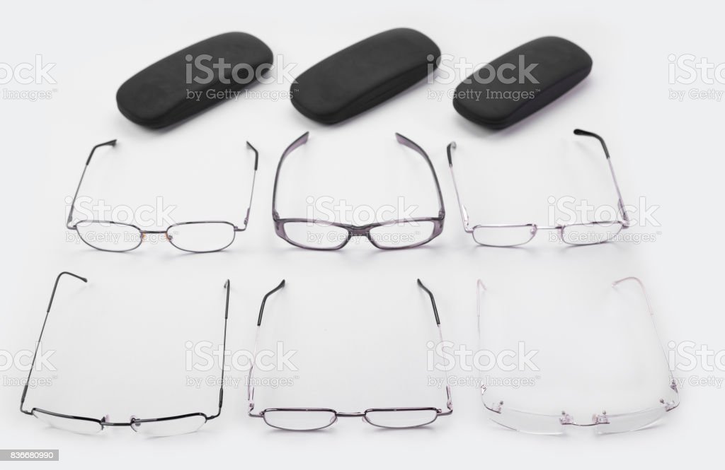 Six frames for dioptrical glasses plastic or metal or rimless stock photo
