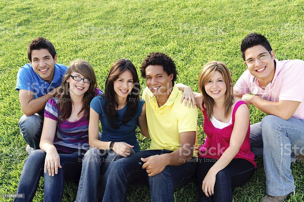 Six friends royalty-free stock photo