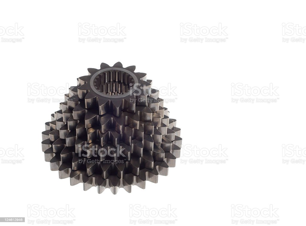 Six gears isolated on white with copy space royalty-free stock photo