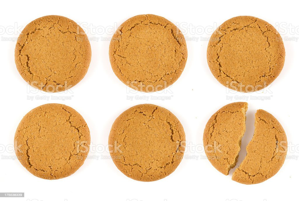 Six Ginger biscuits stock photo