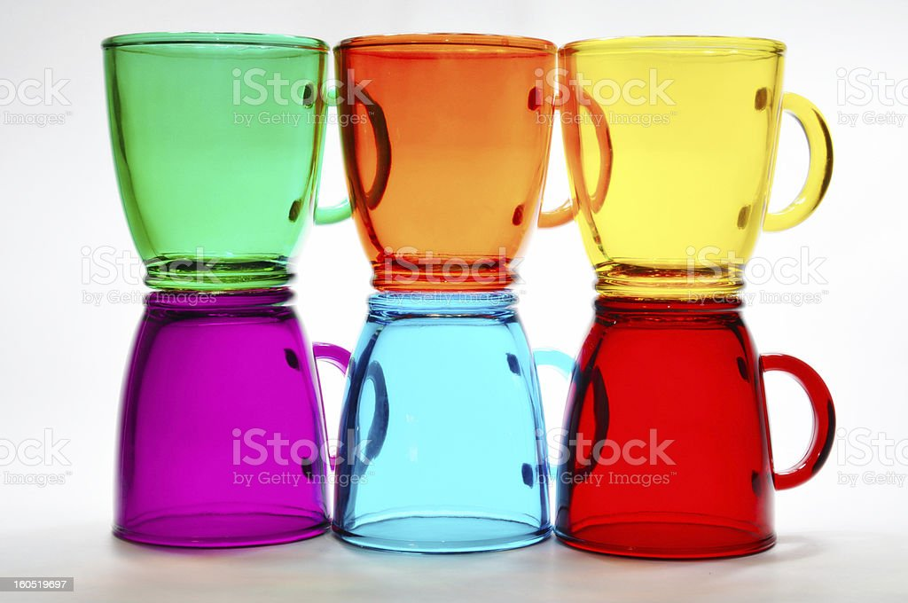 Six glassy cups royalty-free stock photo