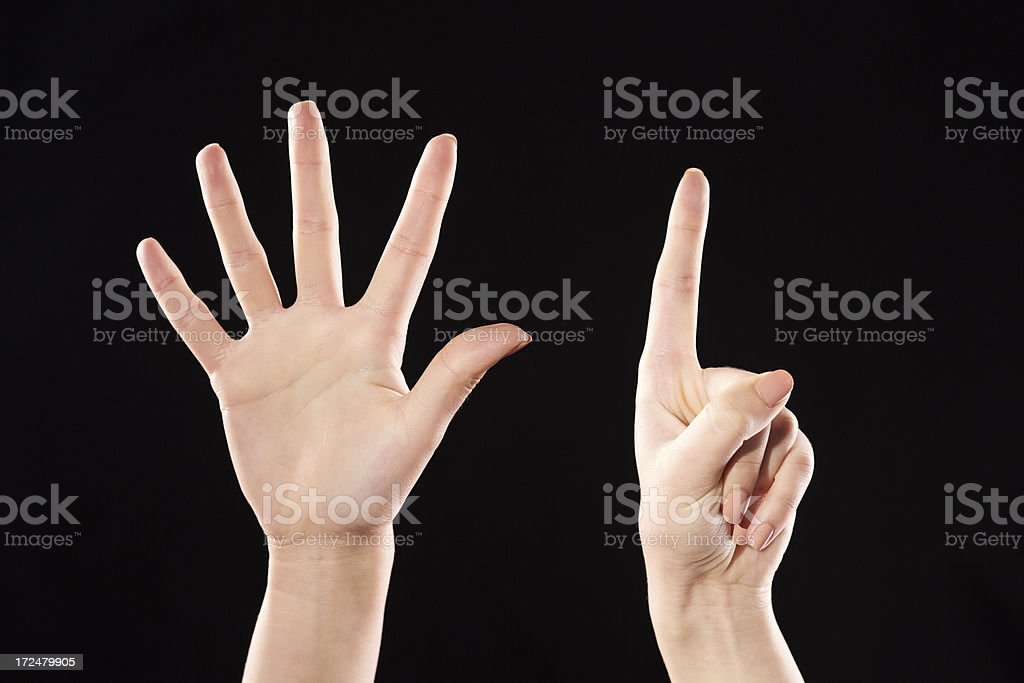 Six hand sign royalty-free stock photo