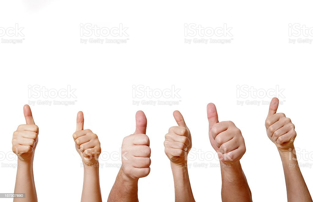 Six hands giving thumbs up on a white background stock photo