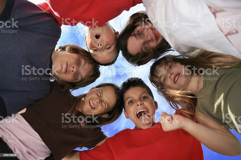 Six Happy Silly Kids royalty-free stock photo