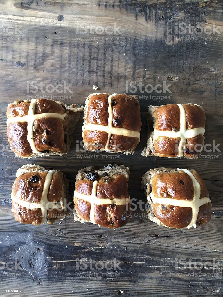 six hot cross buns stock photo