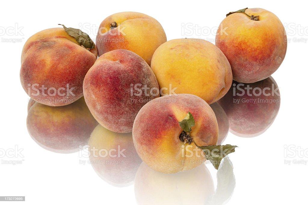 Six juicy peaches royalty-free stock photo