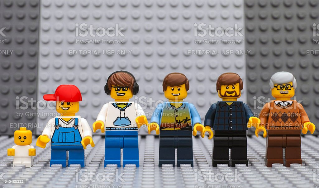 Six Lego man minifigures of different age stock photo