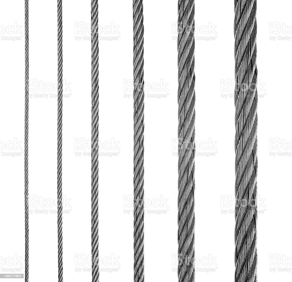 Six lines of metal fiber in a row stock photo
