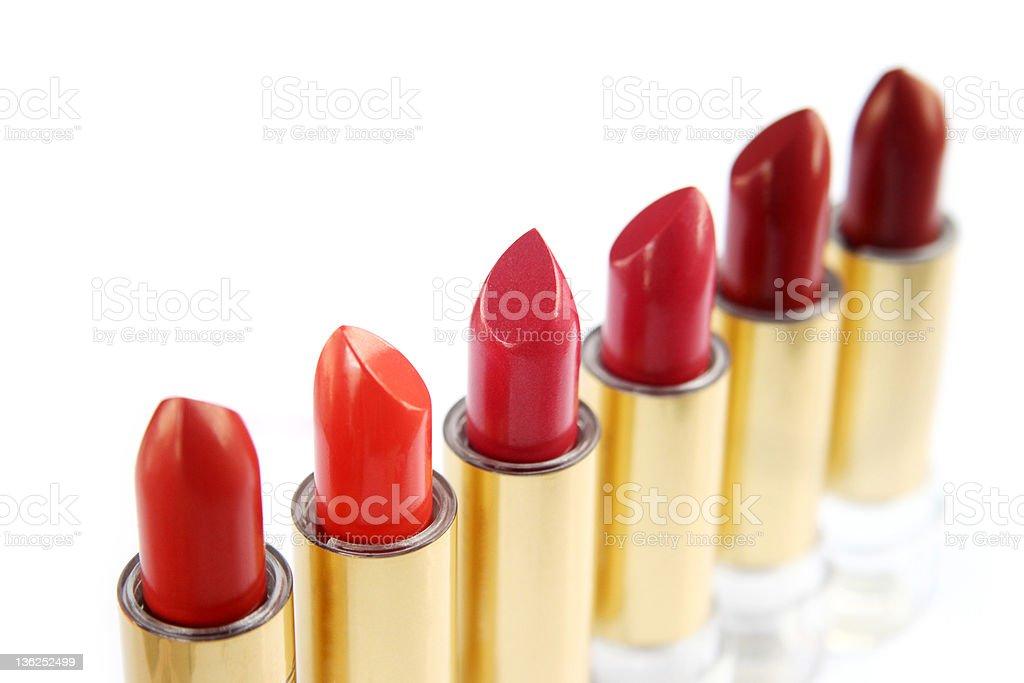 Six lipsticks, close up royalty-free stock photo